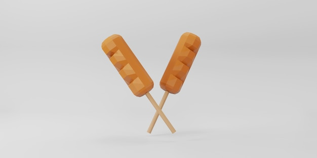 Low poly hot dog on white background.