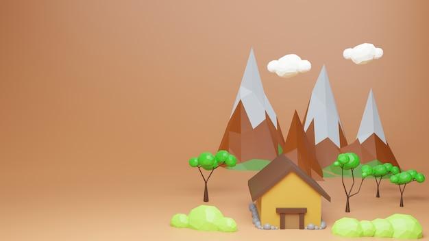 Низкополигональная дом дерево с горы и облака на оранжевом фоне пастельных