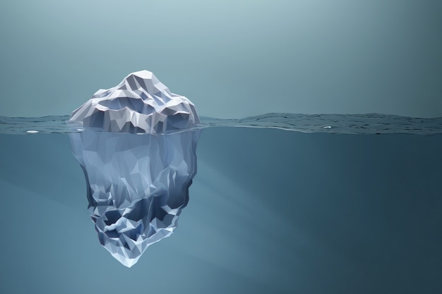 물에 떠있는 낮은 폴리 빙산 거대한 숨겨진 부분 그림 d 렌더링