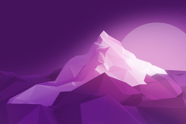 Low-poly image of the mountain and the sun