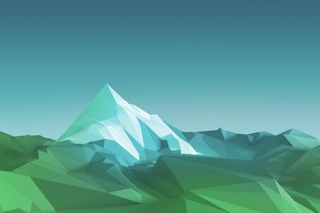 頂上に白い氷河がある山の低ポリゴン画像。 3dイラスト
