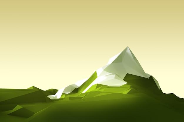頂上に白い氷河がある山の低ポリゴン画像。