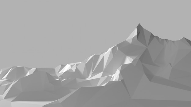 Low poly image of the white mountains