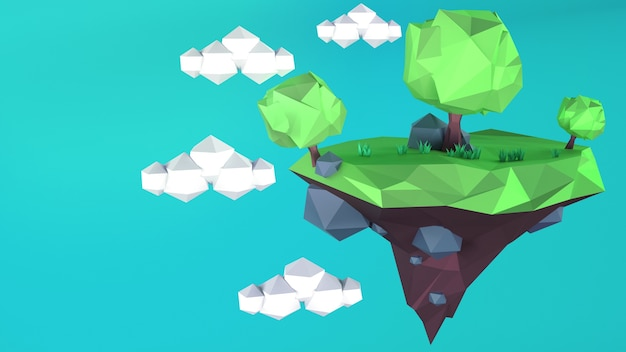 Low poly island with on a blue sky