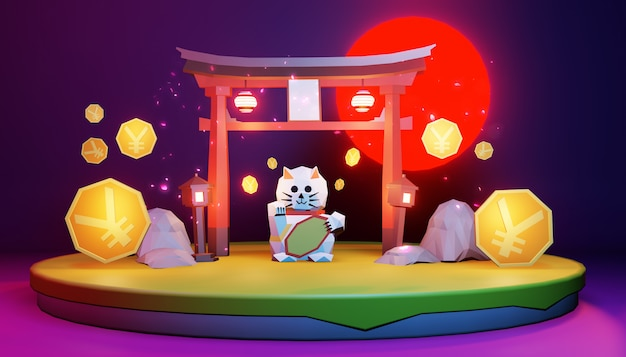 Low poly - japanese on island. 3d rednering