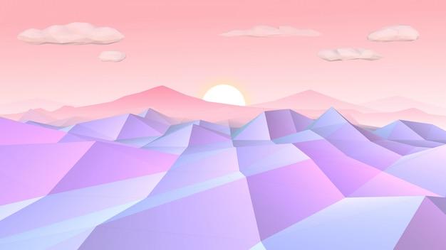 Низкополигональный пейзаж на рассвете