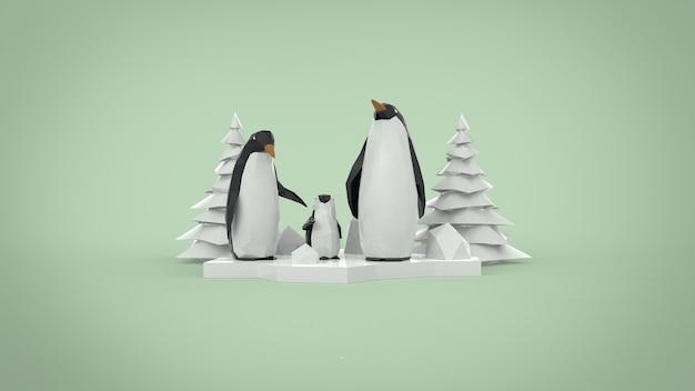 低ポリ ペンギンの家族とクリスマス ツリー