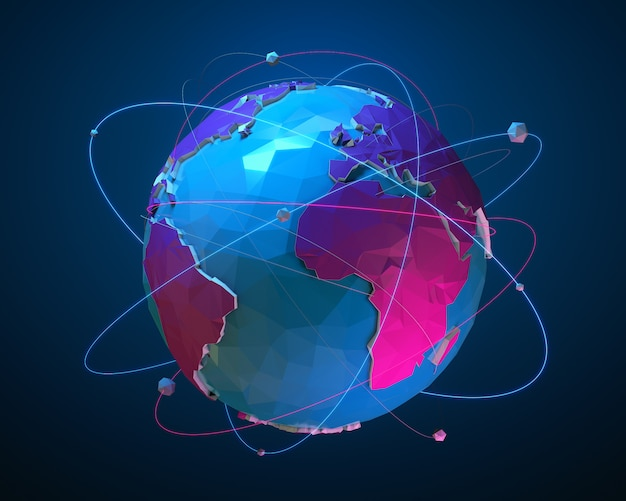Low poly planet earth with luminous lines and balls