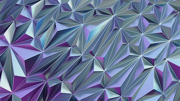 Low poly polygonal pattern. iridescent shiny background abstract with copy space 3d render illustration Premium Photo
