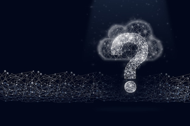 Low poly question mark symbol hologram with cloud storage and digital line on dark blue background.