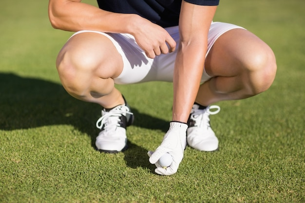 Low section of man placing golf ball on tee