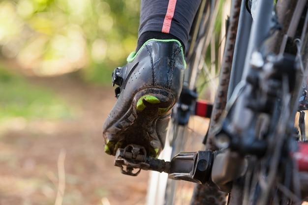 Низкая часть горного велосипеда езда на велосипеде