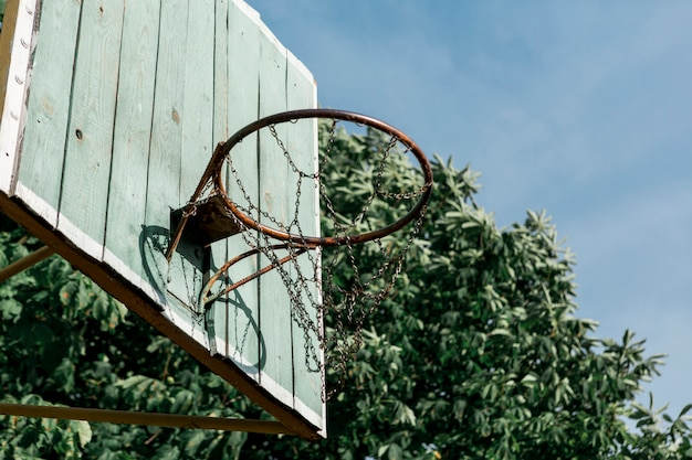 Low view basketball hoop