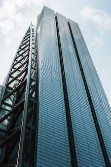 Low view modern skyscrapers office buildings