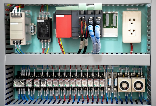 Low voltage box.with electrical power. technical background with programmable units.