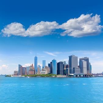 Lower manhattan skyline new york from bay usa