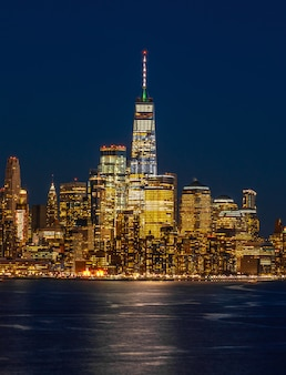 Lower manhattan which is a apart of new york cityscape river side can see one world trade center