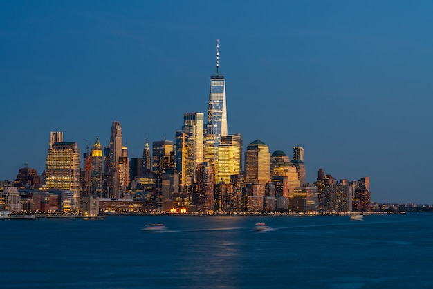 Lower manhattan which is a apart of new york cityscape river side which see one world trade center