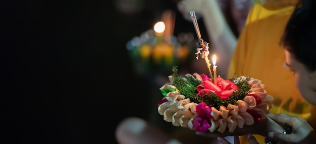 Loy krathong festival , traditional new year festival celebrated annually in thailand.