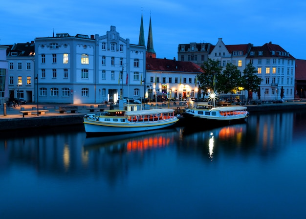 Lubeck at night with untertrave river boardwalk