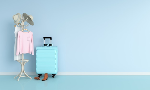 Luggage in blue room