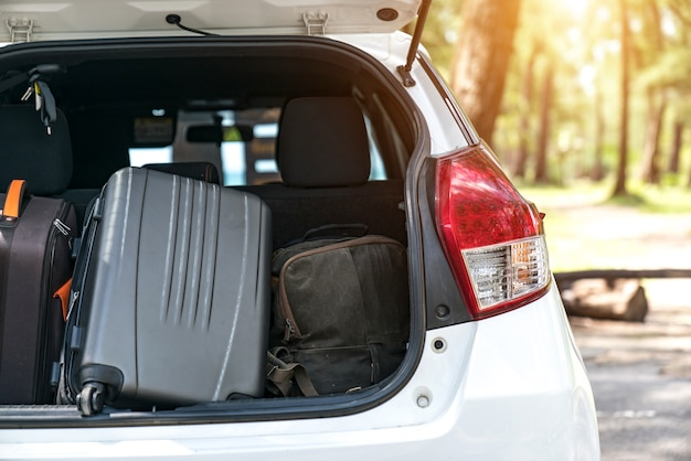 Luggage  : car trunk with luggage. travel concept