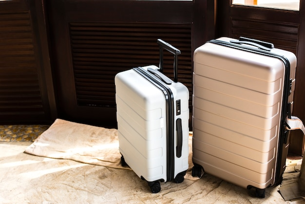 Luggage in a hotel room