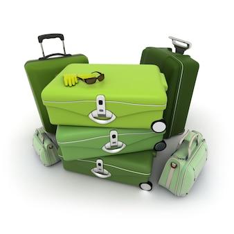 여행자의 선글라스와 장갑이 위에있는 녹색 음영의 러 기지 키트