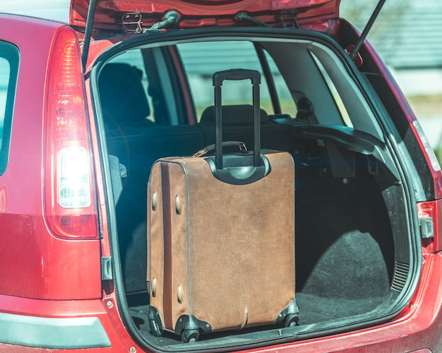 Luggage in the trunk of a passenger car