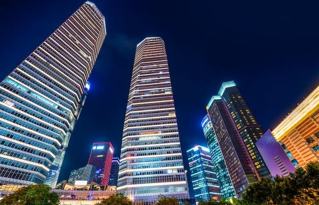 Городской ночной пейзаж lujiazui архитектурный пейзаж в шанхае