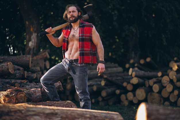 Lumberjack in forest