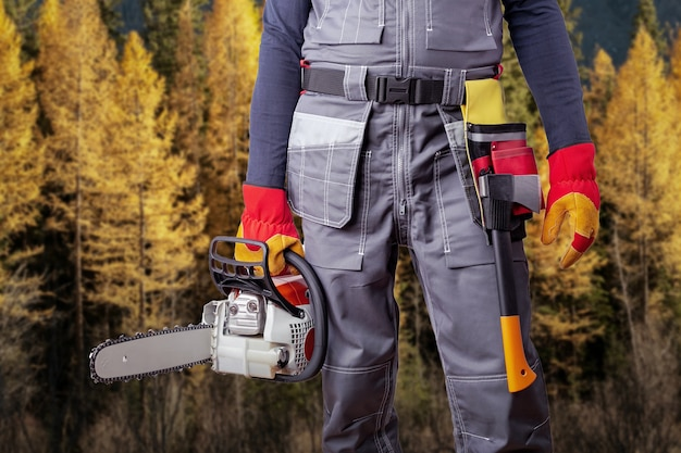 Lumberjack with chainsaw and axe against autumn forest.