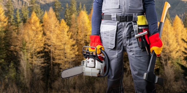 Lumberjack with chainsaw and axe against forest background. banner.