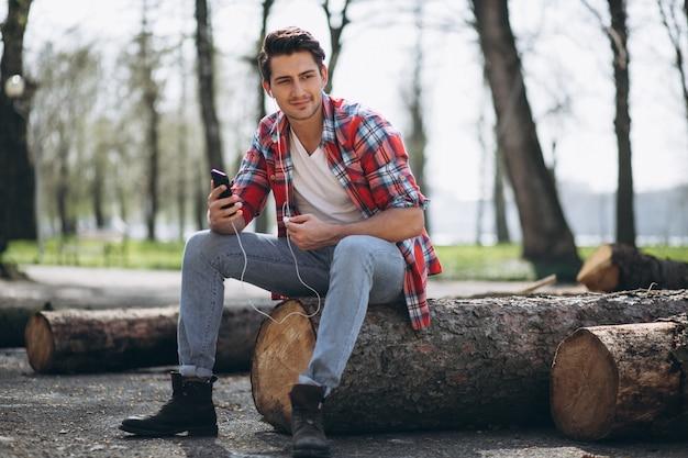 Lumberjack with phone