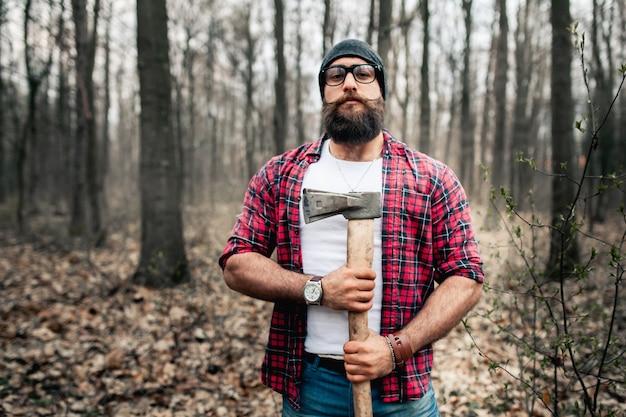 Lumberjack worker forest mustache brutal