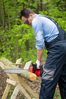 Lumberman in protective safety workwear works with chainsaw and sawing a tree in the forest