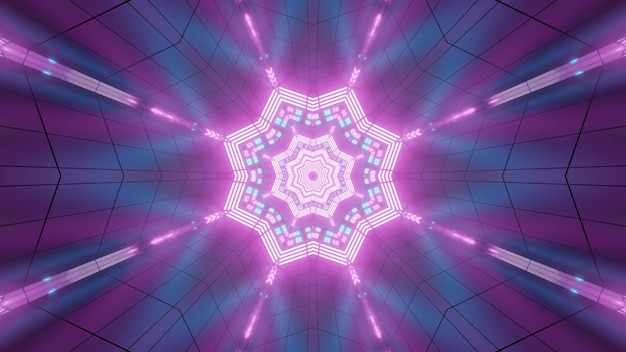 Luminous 3d illustration abstract background design with shiny neon star and rays reflecting in purple backdrop with geometric lines