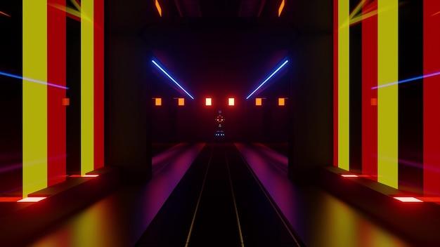 대칭 벽과 빨간색 및 노란색 조명으로 형성된 원근감 터널의 빛나는 3d 그림