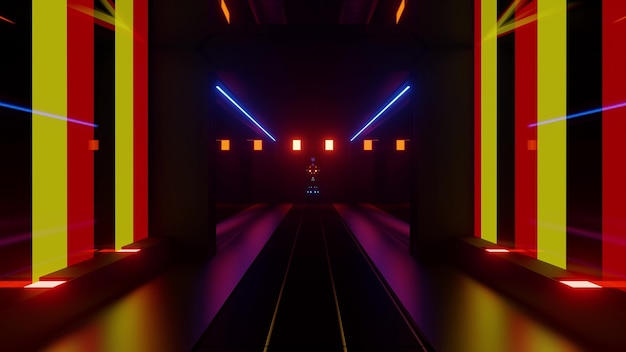 Luminous 3d illustration of perspective tunnel formed by symmetrical walls and red and yellow lights