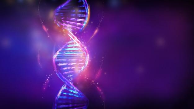 Luminous dna double helix in violet blue colors d render