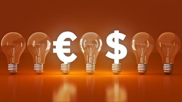 3d 렌더링 전구와 빛나는 유로 달러 기호