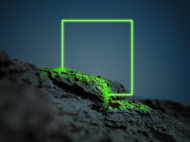빛나는 녹색 사각형 신디사이저 웨이브 복고풍 웨이브 증기파 미래의 미학 빛나는 네온 스타일 프리미엄 사진