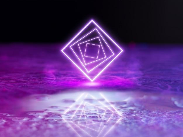 Светящиеся фиолетовые квадраты синтетическая волна ретро волна паровая волна футуристическая эстетика светящийся неоновый стиль