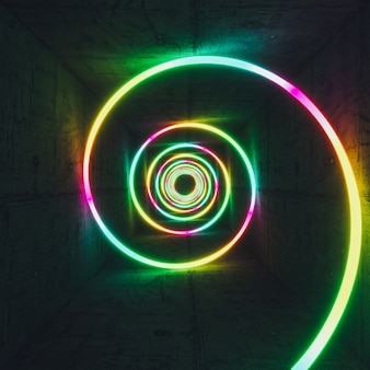 Светящаяся спираль разных цветов и неоновый свет, бетонный интерьер. 3d визуализация.