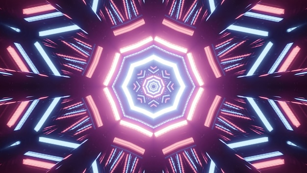 Luminous three dimensional illustration of abstract spherical tunnel formed by curvy bright pink and blue lines on black background
