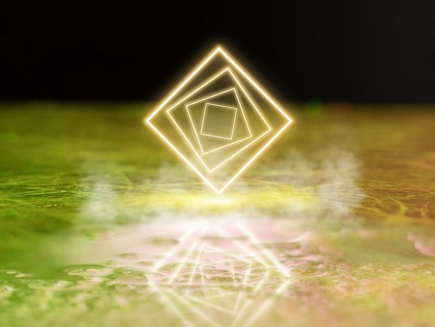 Светящиеся желтые квадраты синтезаторная волна ретро-волна паровая волна футуристическая эстетика светящийся неоновый стиль