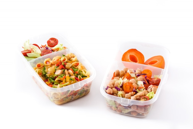 건강 식품 흰색 배경에 고립 먹을 준비가 된 도시락