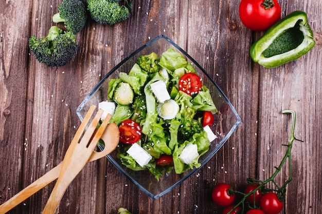 Lunch or dinner ideas. fresh salad of greenery, avocado, green pepper, cherry tomatoes