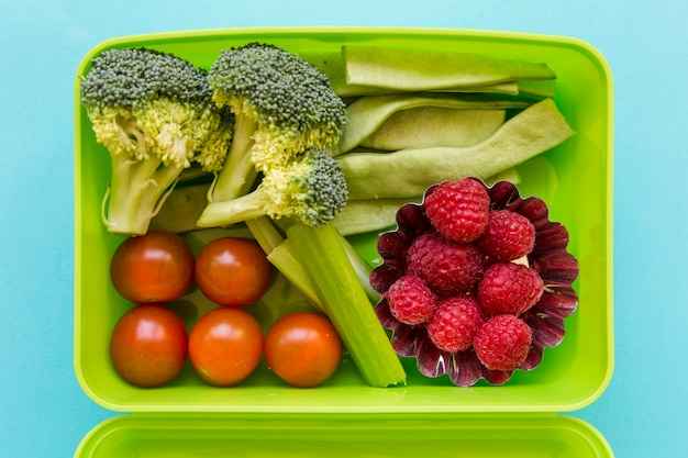 Lunchbox with fruits and vegetables