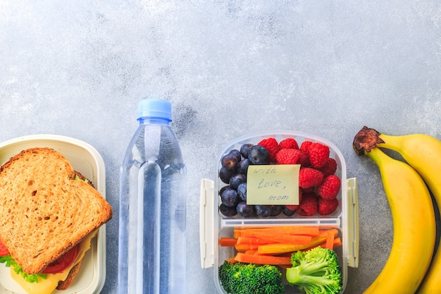 Lunchbox with sandwich berries carrots broccoli bottle of water banana on grey